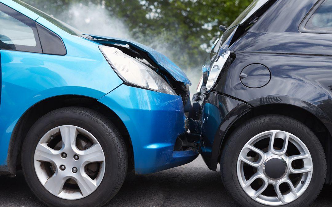 2 cars involved in a fender bender